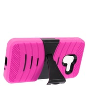 Insten Wave Symbiosis Armor Hybrid Hard Stand Protective Case Back Cover For Alcatel Stellar / Tru - Hot Pink/Black