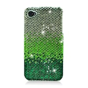 Insten Hard Diamante Cover Case For Apple iPhone 4 4S - Green/Silver