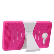 Insten Wave Symbiosis Armor Hybrid Hard Stand Protective Case Back Cover For Alcatel One Touch Pop 7 - Hot Pink/White