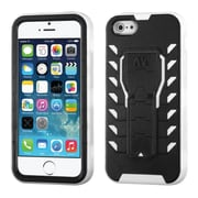 Insten Tuff Teadz Hard Dual Layer Plastic Silicone Cover Case w/stand For Apple iPhone SE / 5 / 5S - Black/White