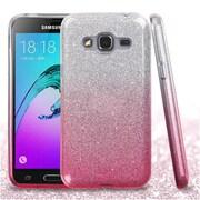 Insten Hard Hybrid Glitter TPU Cover Case For Samsung Galaxy J3 (2016) / Sky - Pink