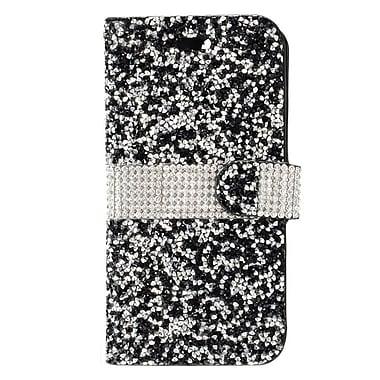 Insten Flip Leather Bling w/card slot Case For Alcatel Stellar / Tru - Black/Silver