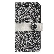Insten Flip Leather Rhinestone w/card holder Case For HTC Desire 530 - Black/Silver