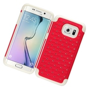 Insten Hard Rubber Coated Cover Case w/Diamond For Samsung Galaxy S7 Edge - Red/White