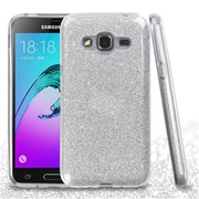 Insten Hard Dual Layer Glitter TPU Cover Case For Samsung Galaxy J3 (2016) / Sky - Silver