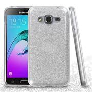 Insten Hard Dual Layer Glitter TPU Cover Case For Samsung Galaxy J3 (2016) / Sky - Silver