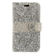 Insten Flip Leather Diamante w/card holder Case For Alcatel Stellar / Tru - Silver