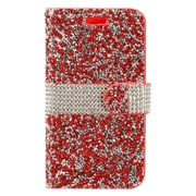 Insten Book-Style Leather Diamond w/card holder Case For Alcatel Dawn / Ideal / Streak - Red/Silver