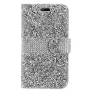 Insten Folio Leather Diamond w/card slot Case For Alcatel Dawn / Ideal / Streak - Silver