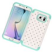 Insten Hard Rubber Case w/Diamond For Samsung Galaxy S7 Edge - White/Mint Green