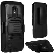 Insten Hard Dual Layer Plastic Silicone Cover Case w/Holster For LG LV3 - Black