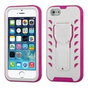 Insten Tuff Teadz Hard Hybrid Plastic Silicone Cover Case w/stand For Apple iPhone SE / 5 / 5S - White/Hot Pink