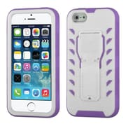 Insten Tuff Teadz Hard Dual Layer Plastic Silicone Cover Case w/stand For Apple iPhone SE / 5 / 5S - White/Purple