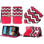 Insten Chevron Flip Leather Fabric Cover Case Lanyard w/stand/Diamond For HTC Desire 520 - Red/White