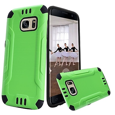 Insten Hard Dual Layer Rubber Silicone Cover Case For Samsung Galaxy S7 Edge - Green/Black