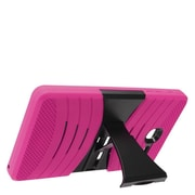 Insten Wave Symbiosis Armor Hybrid Hard Stand Protective Case Back Cover For Alcatel One Touch Pop 7 - Hot Pink/Black
