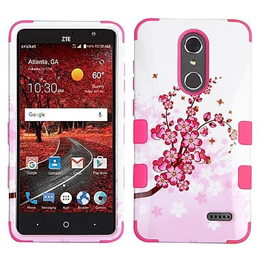 Insten Tuff Spring Flowers Hard Hybrid Rubber Coated Silicone Cover Case For ZTE Grand X 4 - Pink/White