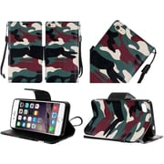 Insten Camouflage Flip Leather Fabric Case Lanyard w/stand For Apple iPhone 6s Plus / 6 Plus - Green/Brown