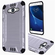 Insten Hard Dual Layer Rubber Coated Silicone Case For Samsung Galaxy J7 (2015) - Silver/Black