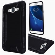 Insten Hard Hybrid Rubberized Silicone Case For Samsung Galaxy J7 (2015) - Black