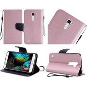Insten Folio Leather Fabric Cover Case Lanyard w/stand For LG K10 - Rose Gold/Black
