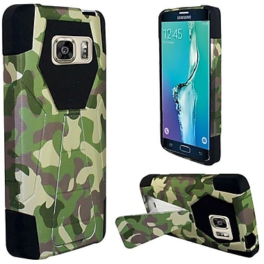 Insten Camouflage Hard Hybrid Plastic Silicone Cover Case with Stand For Samsung Galaxy S6 Edge Plus - Green/Brown