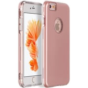 Insten Comfort Hard Skin Rubber Back Case Cover For Apple iPhone 6s Plus / 6 Plus - Clear/Rose Gold