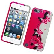 Insten Vine Flower Hard Rubberized Case for iPod Touch 5th Gen - Hot Pink/Silver