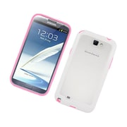 Insten Gel Bumper Case For Samsung Galaxy Note 2 II - Hot Pink/White