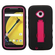 Insten Symbiosis Rubber Hybrid Hard Shockproof Cover Case with Stand For Motorola Moto E (2nd Gen 2015) - Black/Red