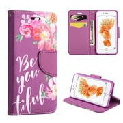 Insten BE-YOU-TIFUL Folio Leather Fabric Cover Case w/stand/card slot For Apple iPhone 7 Plus - Purple/Pink