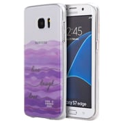 Insten Live laugh love TPU Water Color IMD Rubber Skin Shell Case For Samsung Galaxy S7 Edge - Clear/Purple