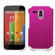 Insten Hard Hybrid Rugged Shockproof Silicone Cover Case For Motorola Moto G(1st Gen) - Hot Pink/White