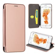 Insten Book-Style Leather Fabric Case w/stand/card slot For Apple iPhone 7 Plus - Rose Gold