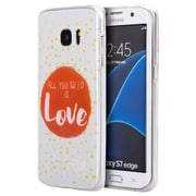 Insten Just Need Love TPU Water Color IMD Rubber Skin Shell Case For Samsung Galaxy S7 Edge - Clear/Red