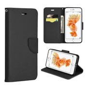Insten Book-Style Leather Fabric Case Lanyard w/stand/card holder For Apple iPhone 7 Plus - Black