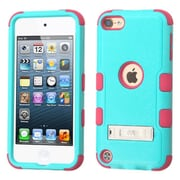 Insten Hard Dual Layer Rubber Coated Silicone Cover Case w/stand For Apple iPod Touch 5th Gen/6th Gen - Teal/Pink