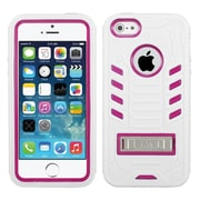 Insten Tuff eNuff Rubber Dual Layer Hard Cover Case w/stand For Apple iPhone SE / 5 / 5S - White/Hot Pink