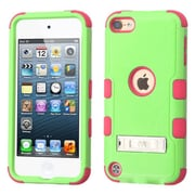 Insten Hard Dual Layer Rubberized Silicone Cover Case w/stand For Apple iPod Touch 5th Gen/6th Gen - Green/Pink