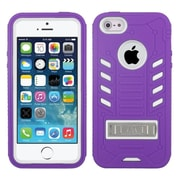 Insten Tuff eNuff Silicone Dual Layer Rubber Hard Case w/stand For Apple iPhone SE / 5 / 5S - Purple/White