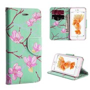 Insten Japanese Blossom Flip Leather Fabric Case w/stand/card holder For Apple iPhone 7 Plus - Green/Pink