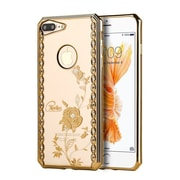Insten Rosie garden TPU Cover Case w/Diamond For Apple iPhone 7 Plus - Gold/Clear