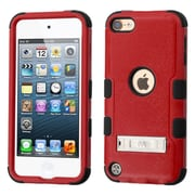 Insten Hard Hybrid Rubber Coated Silicone Case w/stand For Apple iPod Touch 5th Gen/6th Gen - Red/Black