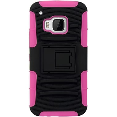 Insten Hard Hybrid Silicone Case w/stand For HTC One M9 - Black/Pink