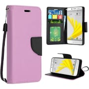 Insten Book-Style Leather Fabric Cover Case Lanyard w/stand For HTC 10 / Bolt - Rose Gold