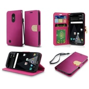 Insten Diamond Bling PU Leather Flip Wallet Pouch Card Stand Case Cover For LG Aristo - Hot Pink