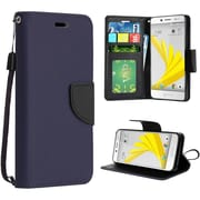 Insten Flip Leather Fabric Cover Case Lanyard w/stand For HTC 10 / Bolt - Blue