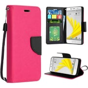 Insten Folio Leather Fabric Case Lanyard w/stand For HTC 10 / Bolt - Hot Pink