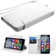 Insten Flip Leather Fabric Cover Case Lanyard w/stand/card slot For Microsoft Lumia 640 - White