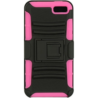 Insten Hard Dual Layer Rubberized Silicone Case w/Holster For Amazon Fire Phone - Black/Hot Pink